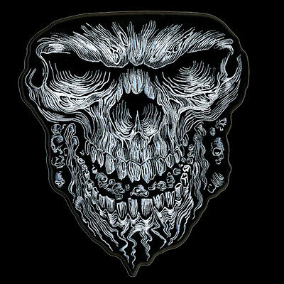 GIANT SKULL EMBROIDERED JACKET VEST 11 INCH (XXL) BIKER PATCH  BY MILTACUSA