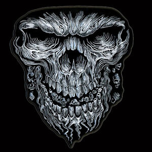 GIANT SKULL EMROIDERED JACKET VEST IRON ON 6 INCH BIKER PATCH