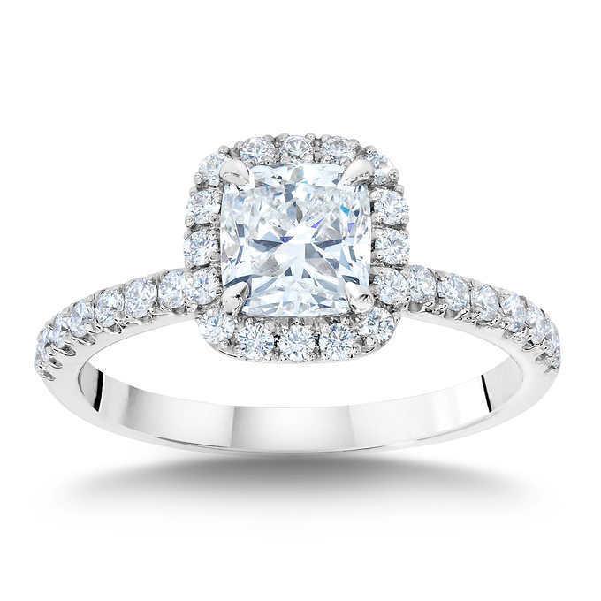 GIA Certified Diamond Engagement Ring 1.12 carat Cushion Shape 18K Gold