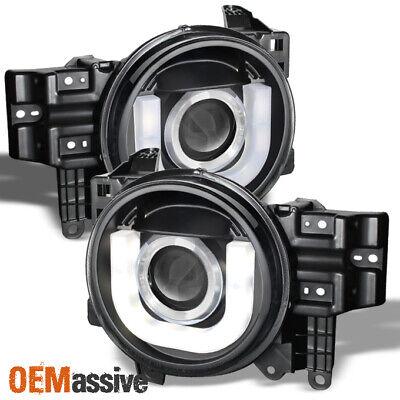 Fits 07-14 Fj Cruiser Black Projector Headlights w/LED Light Tube Design LH+RH