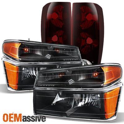 Fits 2004-2012 Chevy Colorado   GMC Canyon Black Headlights + Dark Red Tail