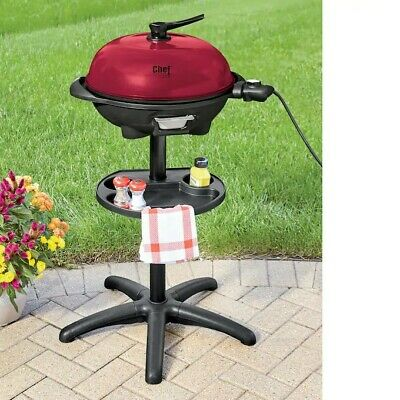 New Chef Tested indoor and outdoor electric grill. Red with a black base. Outdoor Electric Grill