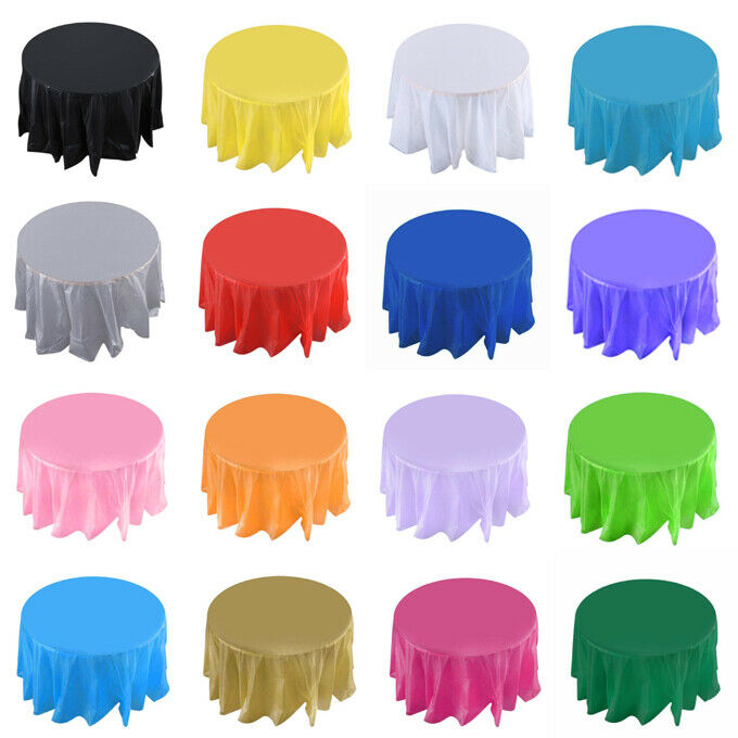 """84"""" Round Plastic Table Cover Tablecloth For Party Wedding B"""