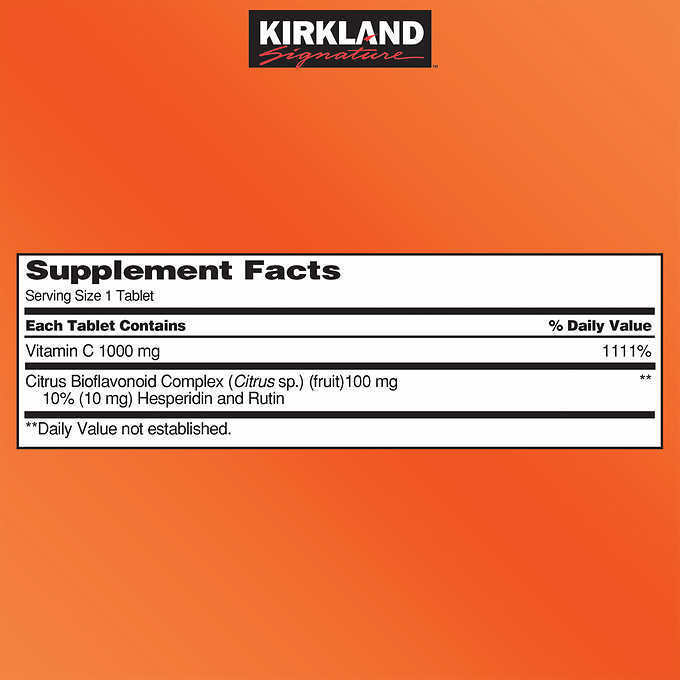 Kirkland Signature Vitamin C 1000mg with Rose Hips, 500 Tablets 1