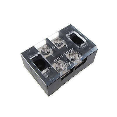 2 Position Screw Barrier Strip Terminal Block With Cover 25a - Qty2