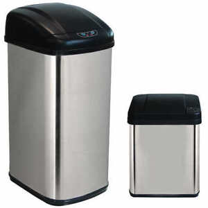 Square Stainless Steel Sensor Trash Can Combo *NEW*