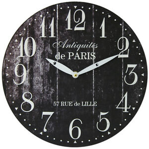 Paris-28Cm-Distressed-Round-Wall-Clock-Black