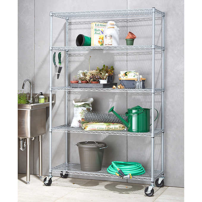 """TRINITY 5-tier Outdoor Wire Shelving Rack with Wheels, 48"""" x"""