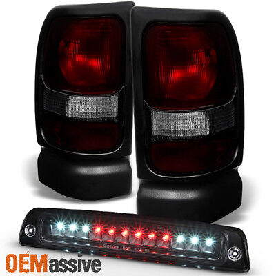 Fit 1994-2001 Dodge Ram 1500 2500 3500 Dark Red Tail Lights+LED 3rd Brake Lamp