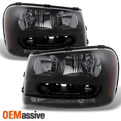 Fit 2002-2009 Chevy Trailblazer SUV *Black Smoked* Replacement Headlights