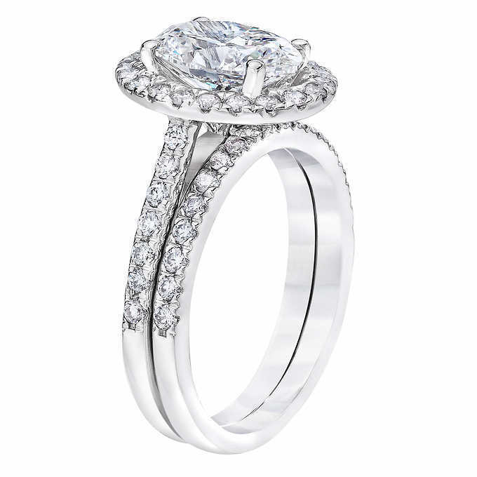 1.90 ct. Oval Cut Halo Diamond U-Setting Engagement Ring G, VS2 GIA 14k WG 1