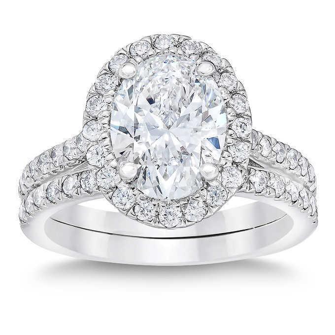 1.90 ct. Oval Cut Halo Diamond U-Setting Engagement Ring G, VS2 GIA 14k WG