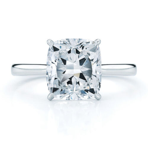 14K White Gold Cushion Cut Forever One Charles & Colvard Engagement Ring