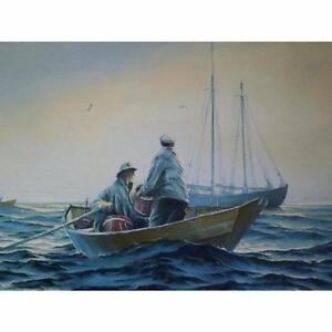 24 x 36 Oil on Canvas Painting - Dory Fishing on the Banks by Jay Langford - Original Paintings and Art