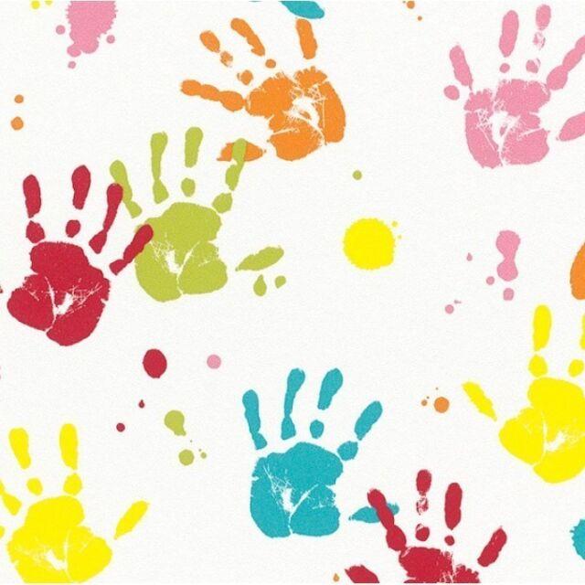 Multicoloured Kids Handprints Wallpaper Childrens Nursery 232103