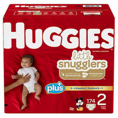 Huggies Little Snugglers Baby Diapers, Size 2: 12-18lbs, 174ct