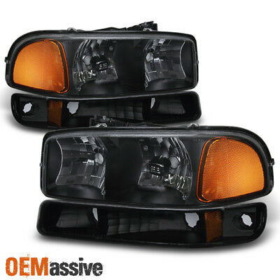 Fit 1999-06 GMC Sierra Yukon Black Headlights + Bumper Signal Lamps Replacement