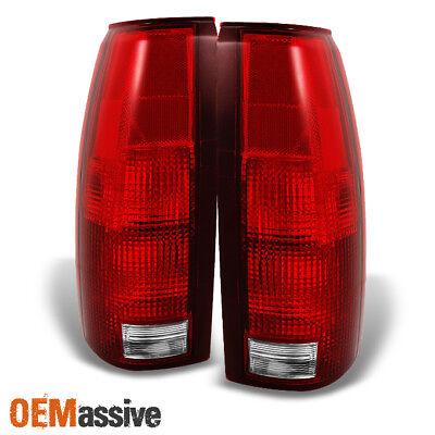 Fit 88-98 C/K C10 GMC Sierra Suburban Pickup Truck Red Clear Tail Light Lamps (2010 Gmc Sierra Pickup)