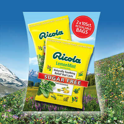Ricola Sugar Free Lemon Mint Cough Drops, 210 Count, Two Resealable Bags