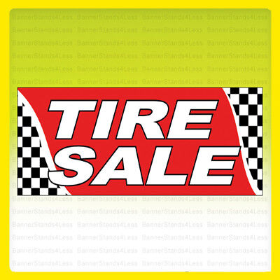 Tire Sale Vinyl Banner Tires Sign Checkered 2x4 Ft - Rb