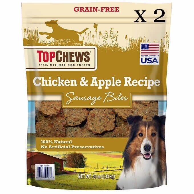 New - 2 Bags Of Top Chews Chicken/Apple Sausage Dog Treats 40oz - Free Shipping