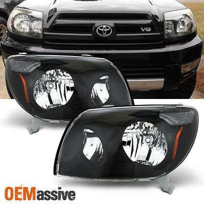 Fits 03-05 Toyota 4Runner Black Headlights Lamps Replacement Pair 2003-2005 2005 Toyota 4runner Headlight