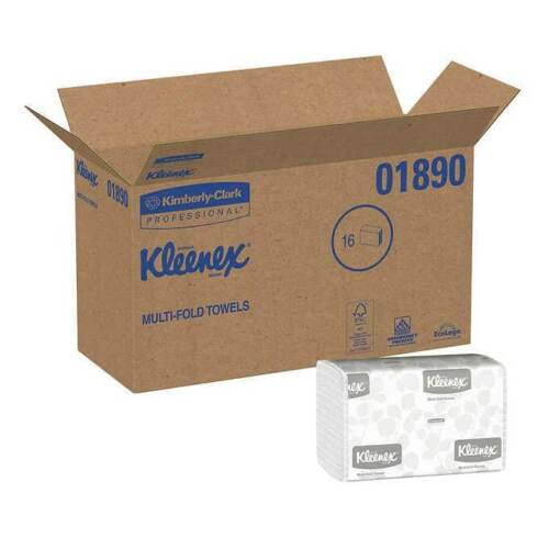 Kleenex Multifold Paper Towels 1-ply, White, 1 Case, 2400-count, 16-pack