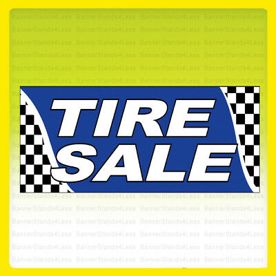 Tire Sale Vinyl Banner Tires Sign Checkered 2x4 Ft - Bb