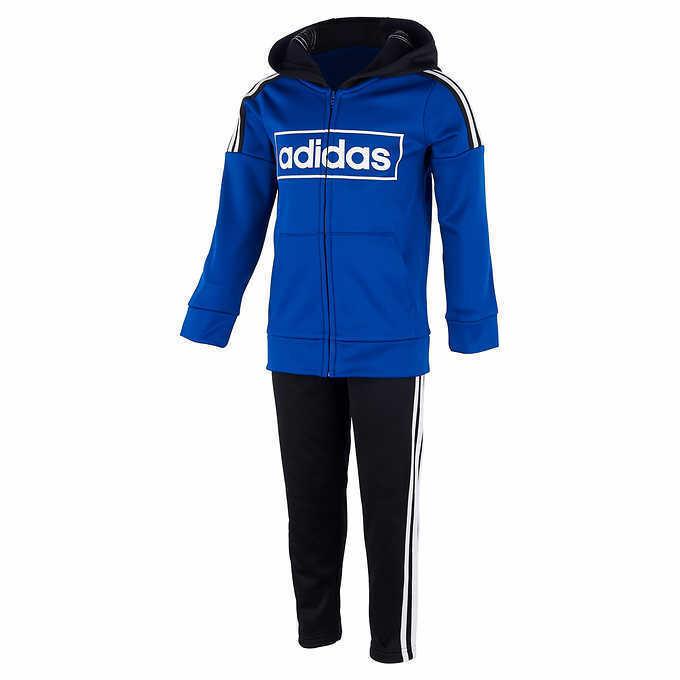 adidas Little Boys 3 Stripe Full Zip Jogger Track Suit Set s