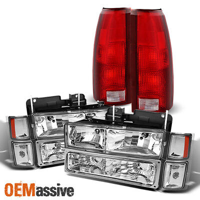 94-98 C/K Suburban Blazer Tahoe Clear Headlight+Corner+Bumper Signal+Tail Light