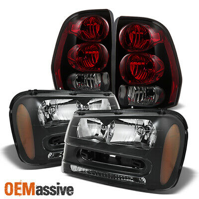 Fit 02-09 Chevy Trailblazer EXT Replacement Black Headlights+Red Tail Lights