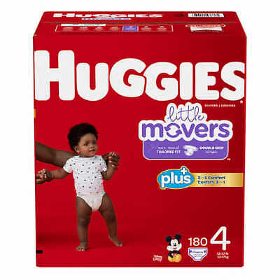 Huggies Little Movers  Baby Diapers, Size 4: 22-37lbs, 180ct