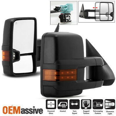 Fit 03-06 Silverado Suburban Sierra Power Heated Side Towing Mirrors +LED Signal
