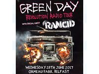 Green Day Ticket Belsonic 28/06/17 at Belsonic Ormeau Park, Belfast.