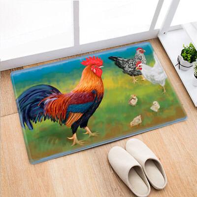 40X60cm Rooster Painting Non-Slip Door Mat Bathroom Rug Bedtoom Carpet Bath - Rooster Mat