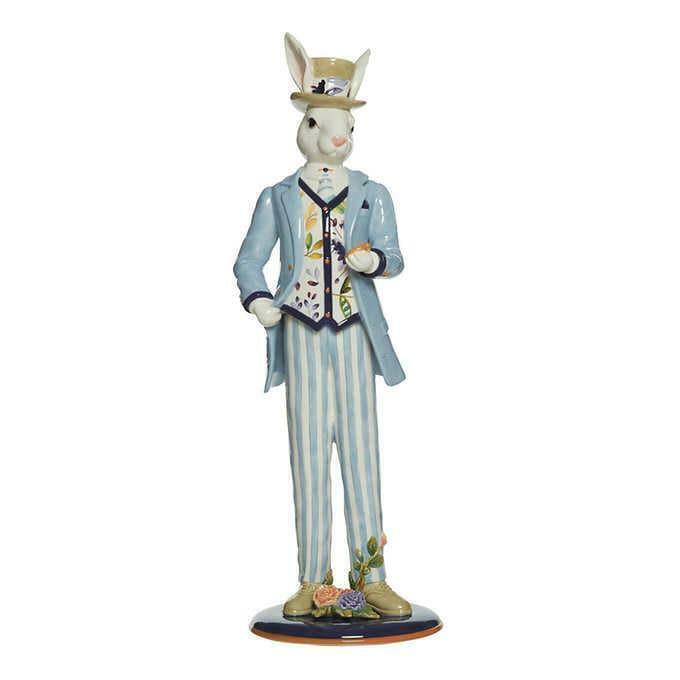 Fitz & Floyd Figurine Male Rabbit Floral Splash Elegant Stylish Spring Easter