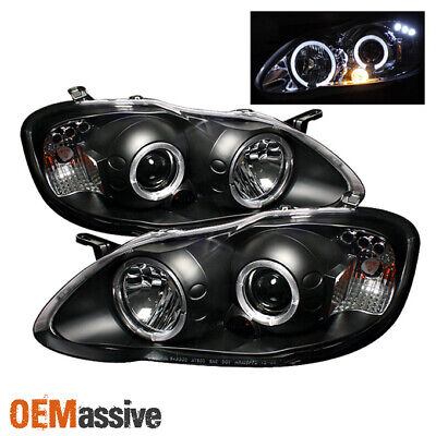 Fits 03-08 Toyota Corolla Dual Halo Projector LED Black Headlights Lamp Pair Set