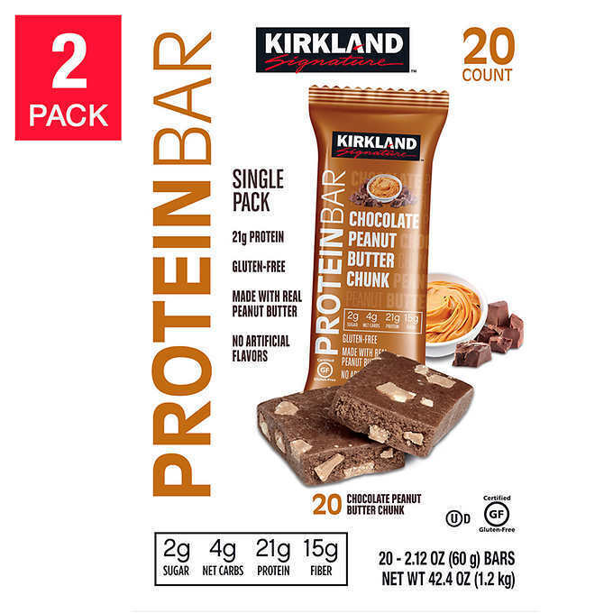 Kirkland Signature Protein Bars Peanut Butter Chunk 40 Count
