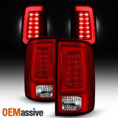 Fits 2009-2018 Dodge Ram 1500/2500/3500 Red Clear LED Tube Tail Light Brake Lamp
