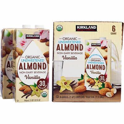 KIRKLAND ORGANIC ALMOND MILK 6CT. UNSWEETENED VANILLA 32 Oz Almond Vanilla Milk