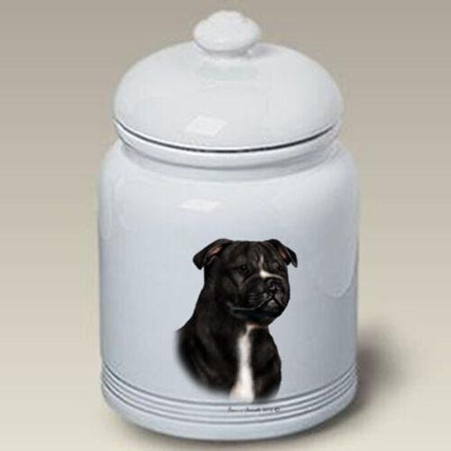 Staffordshire Terrier Black & White Treat Jar