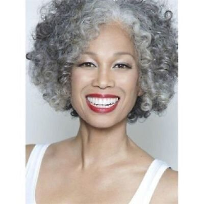Gracefully Short Afro Curly Grey Silver Women's Synthetic Hair Wig - Silver Afro Wig
