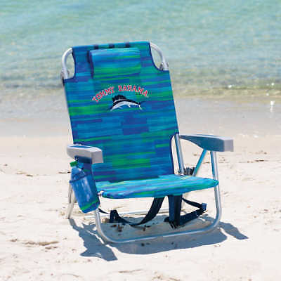 Tommy Bahama Backpack Cooler Beach Chair- Blue and Green