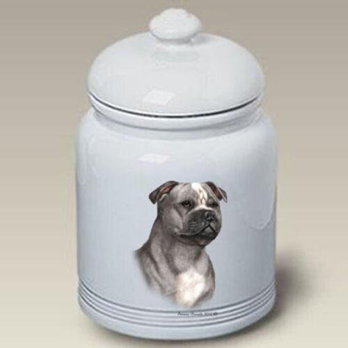 Staffordshire Terrier Blue & White Treat Jar