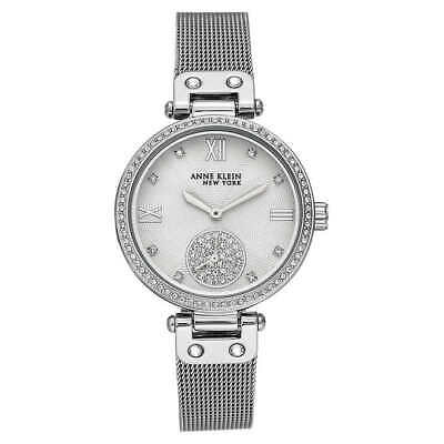 Anne Klein NY 12/2309SVSV Women's 35mm Silver Tone Crystal Accent Watch NWT