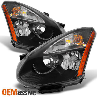 Fits 08-14 Rogue SUV Halogen Type Black Headlights Replacement Left + Right Pair for sale  Hacienda Heights