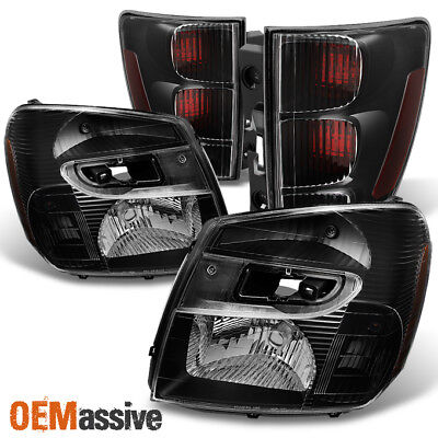Fit 05-09 Chevy Equinox SUV Black Headlights + Dark Red Tail Lights Replacement