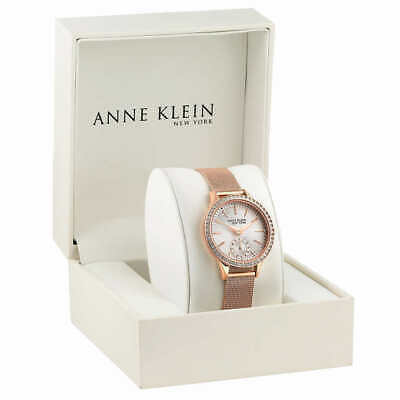 Anne Klein New York 12/2306SVRG Women's 34mm Crystal S/Steel Watch Pre-owned
