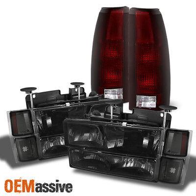 Fit 94-98 C/K Tahoe Suburban Smoked Headlights+Bumper+Red Smoked Tail Lights