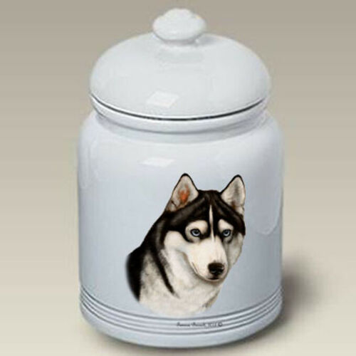 Siberian Husky Black & White Treat Jar